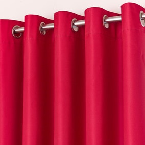 Red Blackout Eyelet Curtains