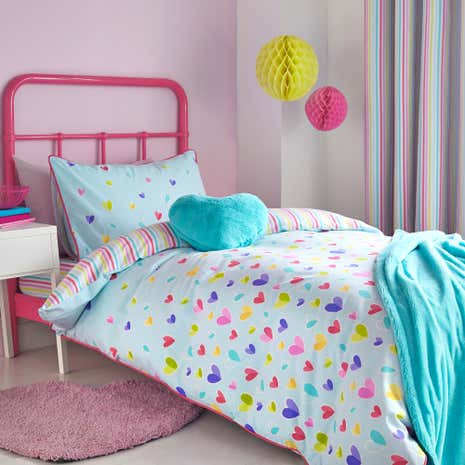 Kids Scattered Hearts Duvet Cover Set