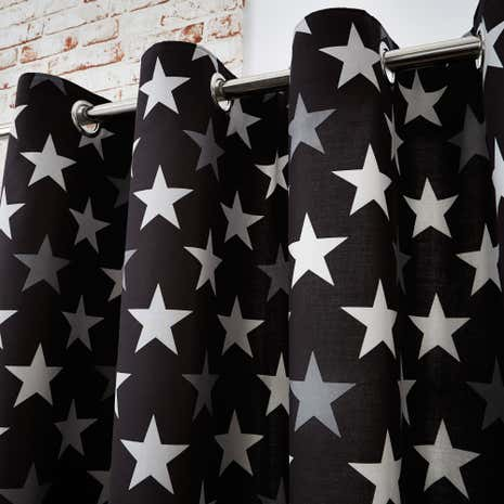 Stars Black Blackout Eyelet Curtains