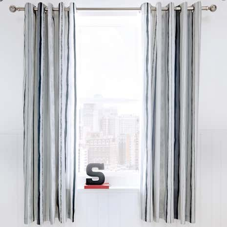 Urban Skater Charcoal Lined Eyelet Curtains