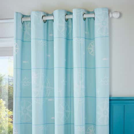 World Map Thermal Eyelet Curtains