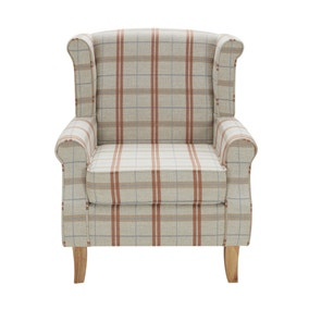 Dark Check Edinburgh Wingback Chair