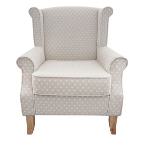 Dotty Natural Edinburgh Wingback Chair