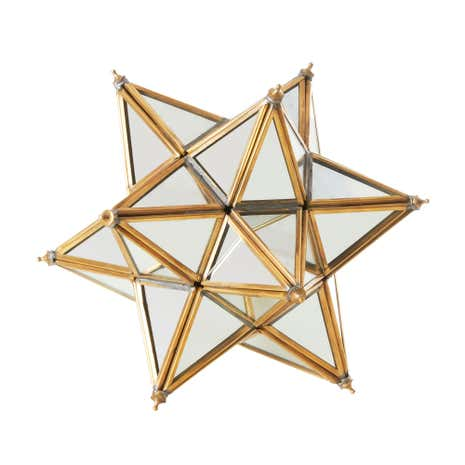 Gold Metal Edged Glass Star Ornament