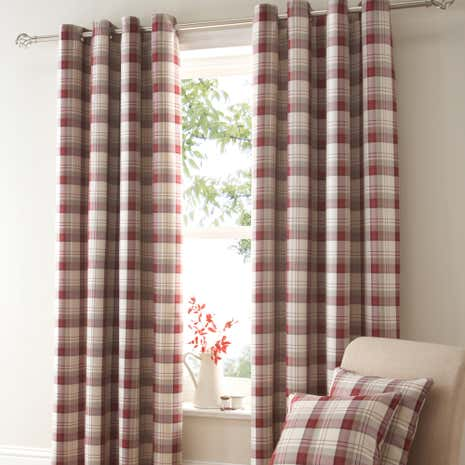 Balmoral Red Blackout Eyelet Curtains