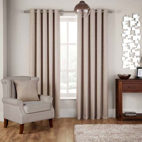 Hotel Rome Natural Lined Eyelet Curtains