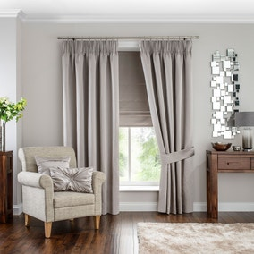 Hotel Venice Oyster Pencil Pleat Black Out Curtains
