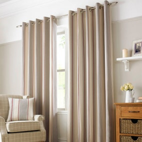 Paignton Red Lined Eyelet Curtains