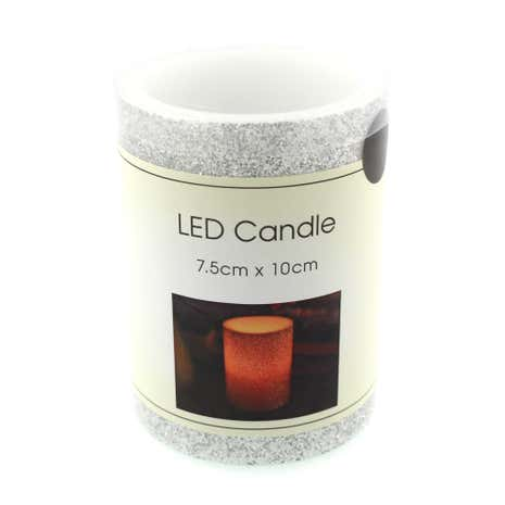 LED Silver Glitter Candle