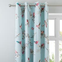 Duck Egg Beautiful Birds Thermal Eyelet Curtains
