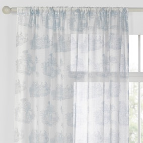 Toile de Jouy Blue Sheer Panel