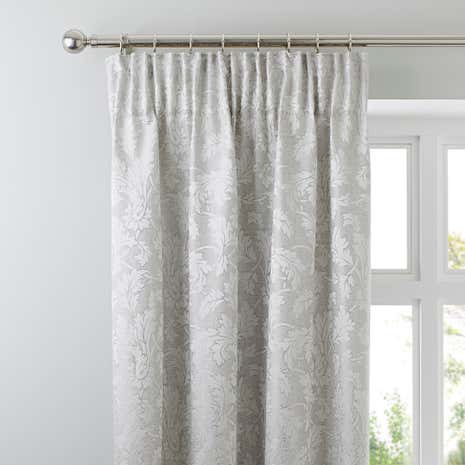 Canterbury Silver Pencil Pleat Curtains