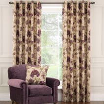 Dorma Bloomsbury Plum Lined Eyelet Curtains