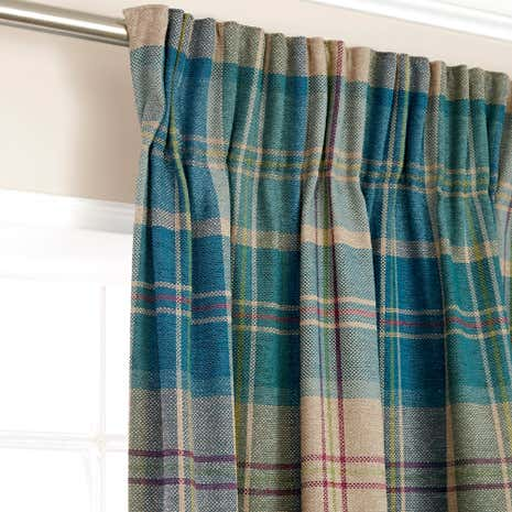 Hamish Teal Lined Pencil Pleat Curtains