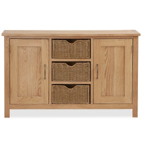 Sidmouth Oak Large Sideboard With Baskets