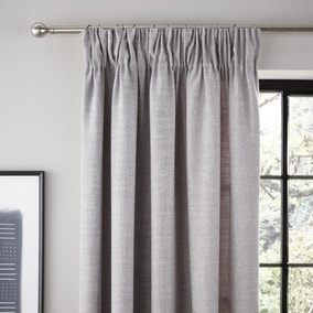 Vermont Dove Grey Lined Pencil Pleat Curtains
