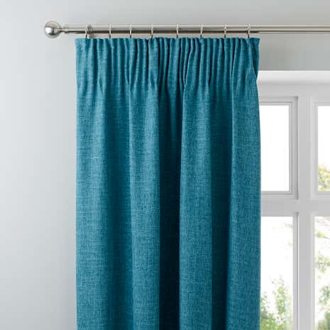 Vermont Teal Lined Pencil Pleat Curtains