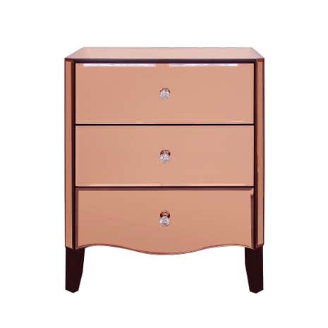 Viola Rose Gold Mirrored 3 Drawer Chest