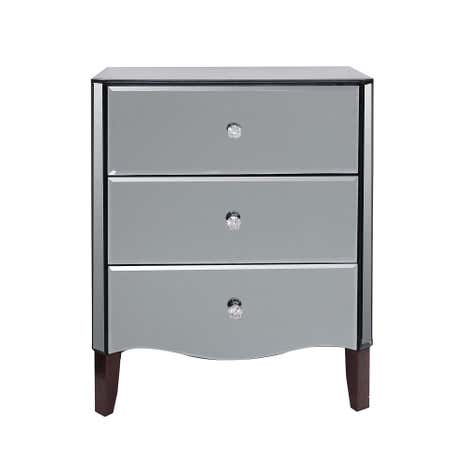 Viola Smoke Mirrored 3 Drawer Chest