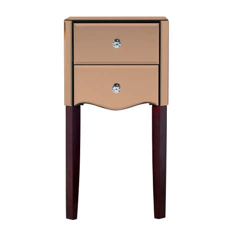 Viola Rose Gold Mirrored 2 Drawer Bedside Table