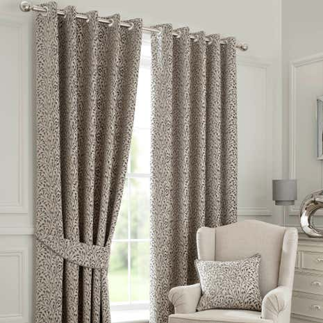 Willow Grey Lined Eyelet Curtains