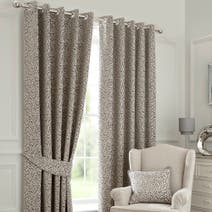 Grey Willow Lined Eyelet Curtains