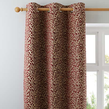 Willow Red Lined Eyelet Curtains