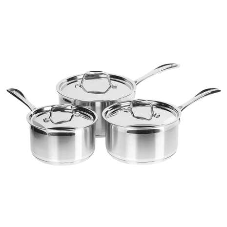 Brushed Stainless Steel 3 Piece Saucepan Set
