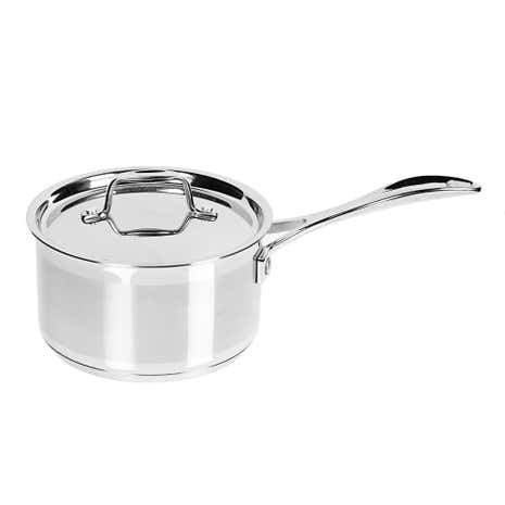 Brushed Stainless Steel Lidded Saucepan