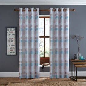 Duck Egg Berwick Lined Eyelet Curtains
