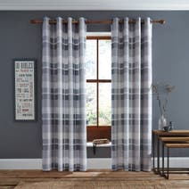 Grey Berwick Lined Eyelet Curtains