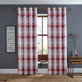 Red Berwick Check Eyelet Curtains