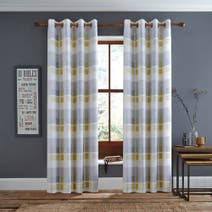 Ochre Berwick Lined Eyelet Curtains