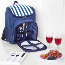 2 Person Striped Coastal Picnic Bag