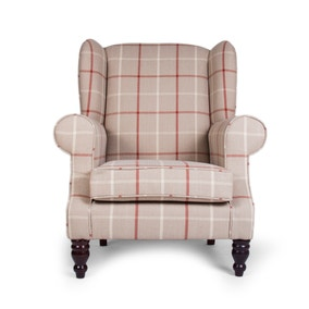 Chartwell Colorado Check Natural Wing Back Armchair