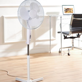 16 Inch White Pedestal Fan