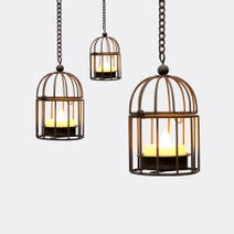 Set of 4 Hanging Birdcage Candles