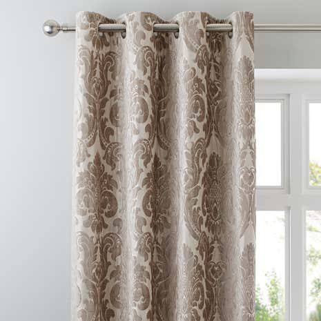 Versailles Natural Lined Eyelet Curtains
