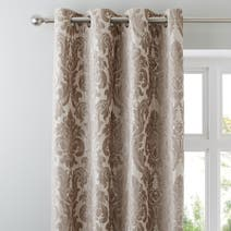 Natural Versailles Lined Eyelet Curtains