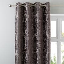 Charcoal Versailles Lined Eyelet Curtains