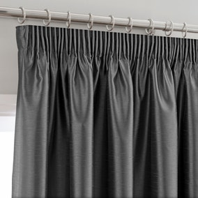 Montana Charcoal Lined Pencil Pleat Curtains