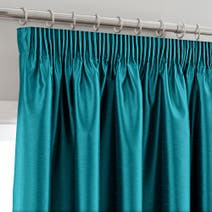 Teal Montana Lined Pencil Pleat Curtains