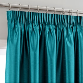 Montana Teal Lined Pencil Pleat Curtains