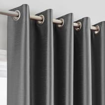 Charcoal Montana Lined Eyelet Curtains