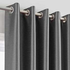 Montana Charcoal Lined Eyelet Curtains