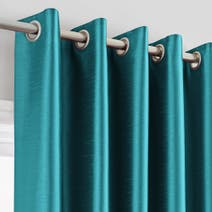 Teal Montana Lined Eyelet Curtains