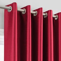 Red Montana Lined Eyelet Curtains
