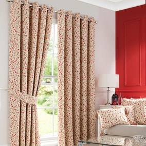 Heritage Glava Terracotta Lined Eyelet Curtains
