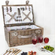 4 Person Striped Wicker Picnic Hamper