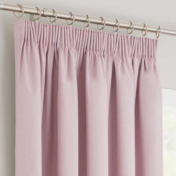 Solar Pink Blackout Pencil Pleat Curtains | Dunelm